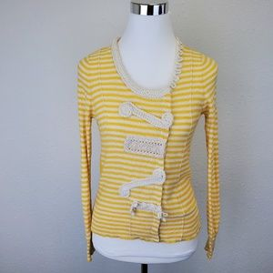 Sparrow Yellow And White Snap Front Cardigan Sz M